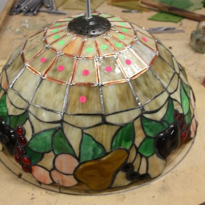 Herstelling lamp in Tiffany glas